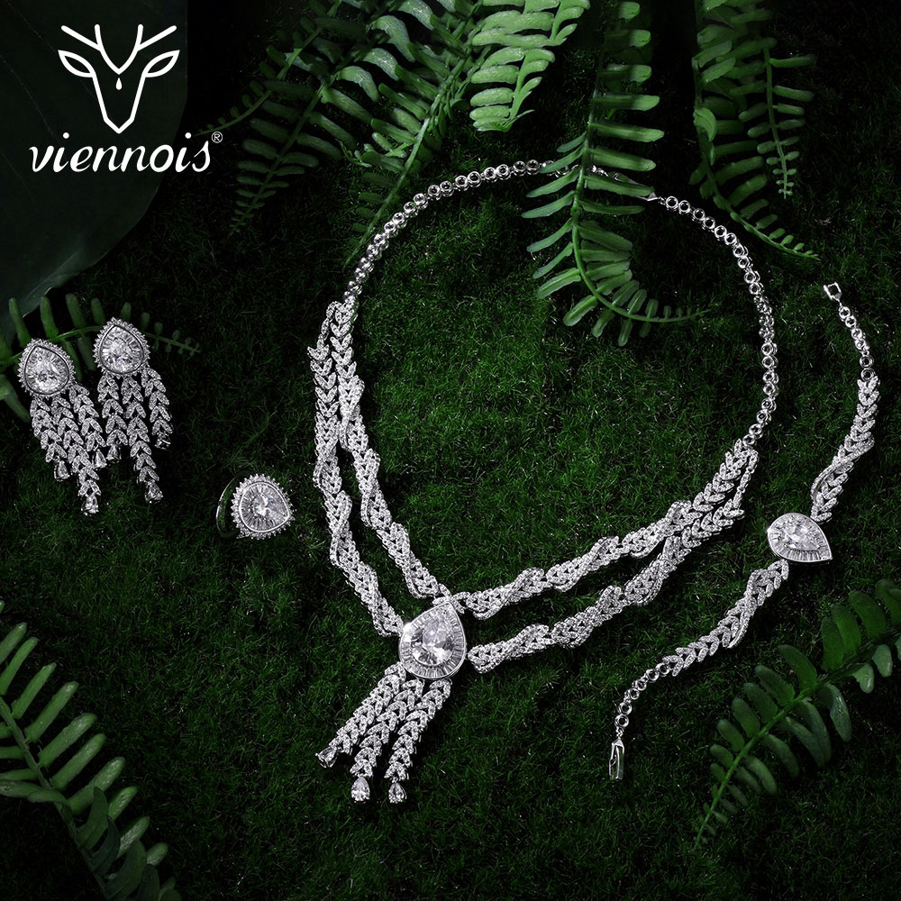 Viennois Silver Color Crystal Earrings Necklace Ring Bracelet Jewelry Set Wedding Party New Women Jewelry viennois new blue crystal fashion rhinestone pendant earrings ring bracelet and long necklace sets for women jewelry sets