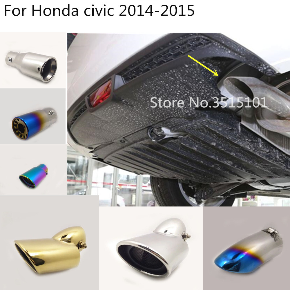 Car Styling Cover Stainless Steel Muffler Pipe Outlet Dedicate Exhaust Tip Tail 1pcs For Honda Civic 9th Sedan 2014 2015