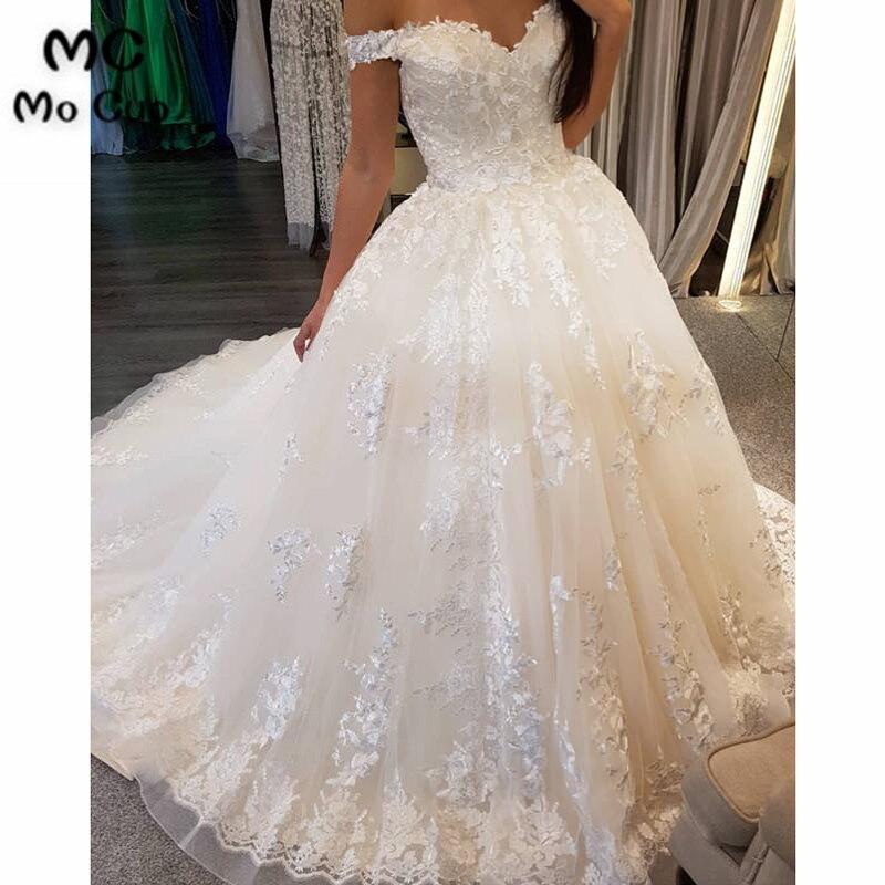 New 2018 Ball Gown Wedding Dresses Robe De Mariage V-Neck Short Sleeve Tulle Spaghetti Straps Vestido De Noiva Bridal Gowns