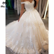 Ball Gown Wedding Dresses V-Neck Short Sleeve Bridal Gowns