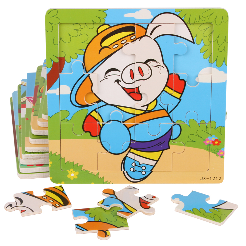 Kids Child Boy Girl Baby Children Educational Wooden Toys Wood Toy 12PCS Traffic Chinese Zodiac Sketch DIY Puzzle Puzzles Gift