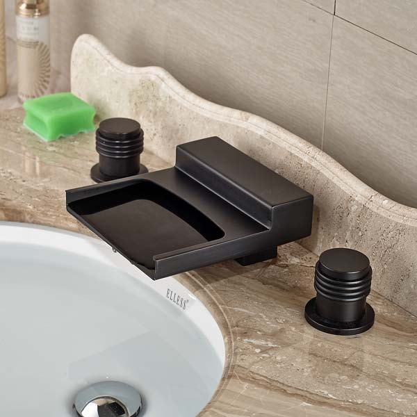 Deck Mounted Oil Rubbed Bronze Waterfall Bathroom Faucet 3 Holes Two Handles Mixer In Basin