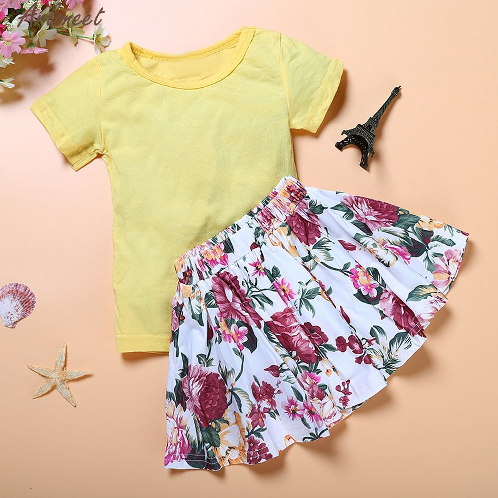 Christmas Pajamas Dress For Baby Girls Floral Baby Kids Girl Dress Short Sleeve Tops T-Shirt+Skirt Outfits Set Clothes yellow