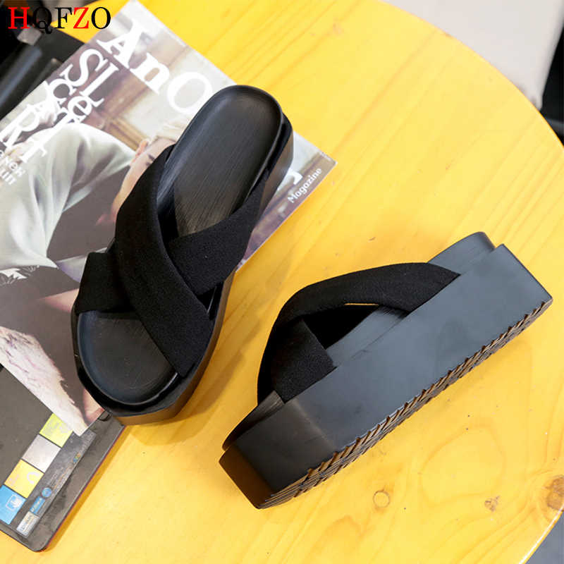 HQFZO Повседневное на платформе ботинки на высоком каблуке Пляжные сланцы с клапанами Для женщин Летние сланцы Chanclas Mujer 2019 черный/6,5 см