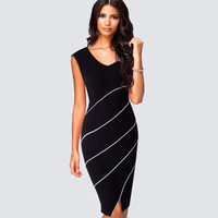 Casual Black Decent Striped Fitted Dress For Work V Neck Business Women Sleeveless Front Micro Split