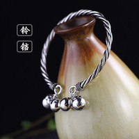 Character Silver Products S925 Sterling Silver Jewelry Thailand Pure Handmade Lady Small Bell Bracelet Full
