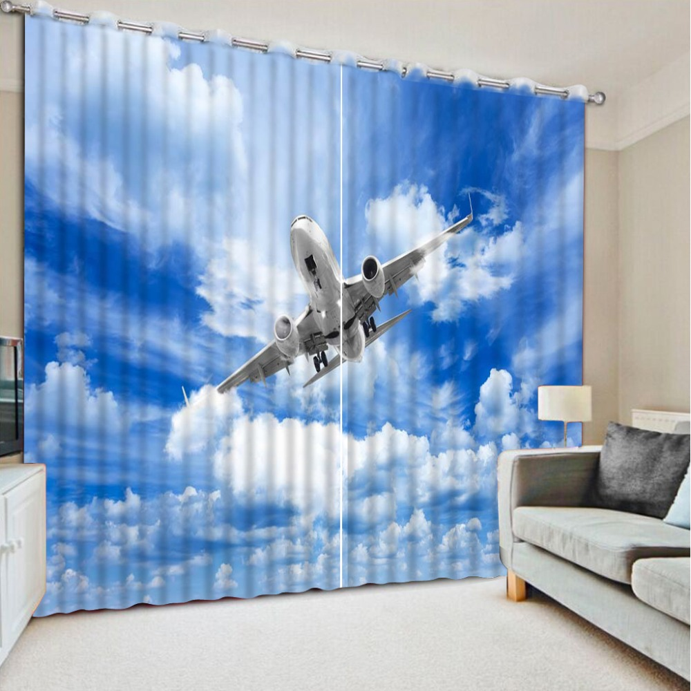 Blue bedroom window curtains - Modern 3d Curtain Cool Blue Plane Luxury Window Curtains 3d Blactout For Living Room Bedroom Drapes