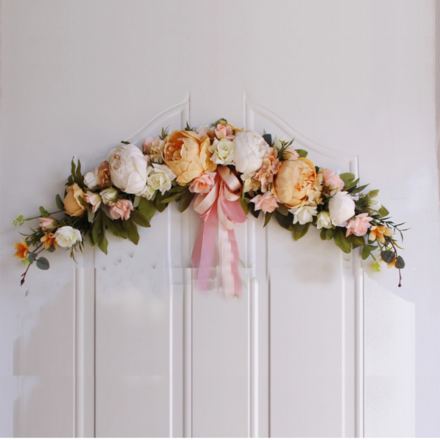 Rose Peony Artificial Flowers Garland European Lintel Wall Decorative Flower Door Wreath For Wedding Home Christmas Decoration 5