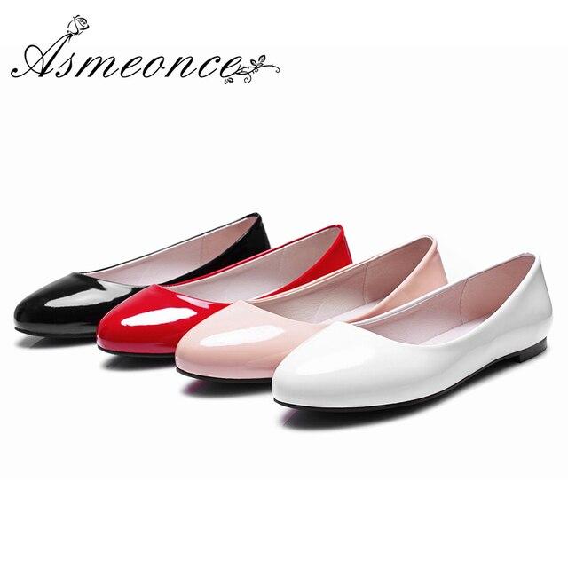 1d0ce41a6 Couro Ballet Flats Mulheres Sapatas Lisas Das Senhoras Meninas Bailarina  Deslizar sobre Sapatos de Escritório Calcanhar