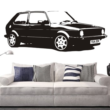 Mural for Bedroom Vintage Large Car VW Golf GTI Mk1 Classic Wall Art Decal Art Mural Paper Car Sticker LX344 image