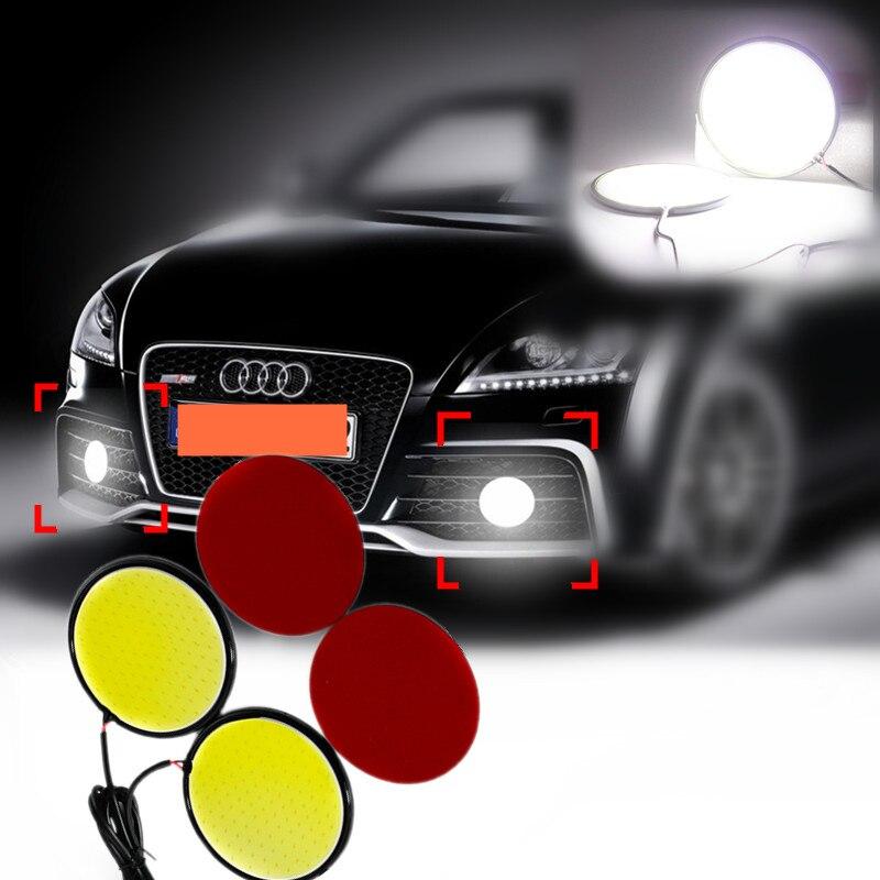 2x Bright White COB LED Rotonda Luce Corrente di Alluminio 83/67mm 120/100 Chip DRL Auto/Motore giorno Guidare Lampada Nastro Adesivo