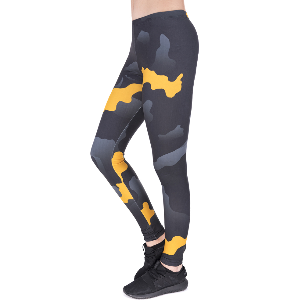 New Leggins Mujer Orange Gray Camo Printing Legging Fitness Feminina Leggins Woman Pants Workout Leggings