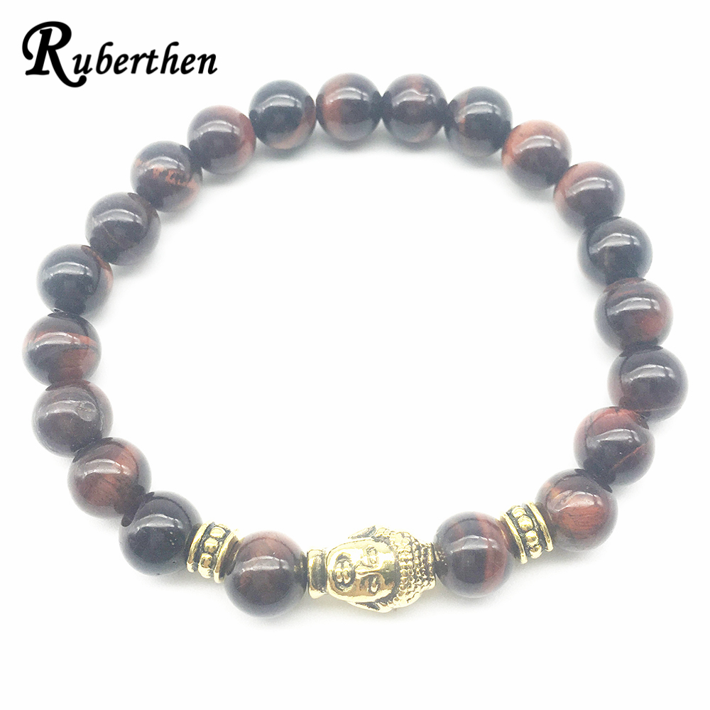 Ruberthen Brand Men`s Buddha On Sale Natural Red Tiger Eye Stone Bracelet New Arrival Designer Bracelet Drop Shipping image