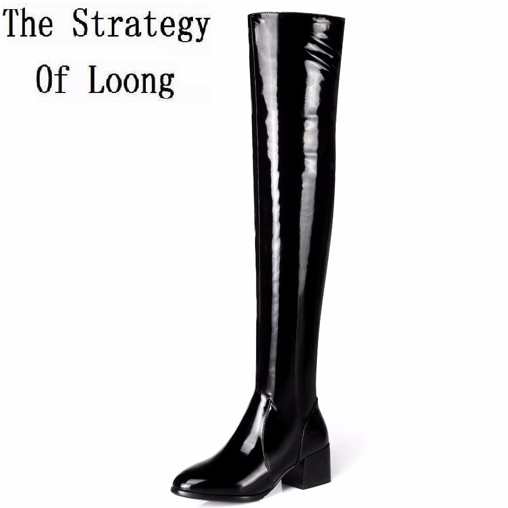 Casual Short Plush Patent Leather Square Heels Women Over The Knee Boots Winter Pointed Toe Solid Basic Zip Long Boots ZY170906 цены онлайн
