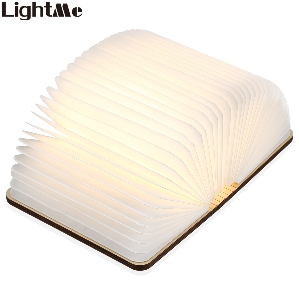 LightMe Rechargeable Book Lamp Folding Mini Table Light Warm White LED Wooden USB Desk Night Lamp Bedroom Decor Lighting yingtouman led night light folding book light usb port rechargeable paper cover home table desk ceiling decor lamp