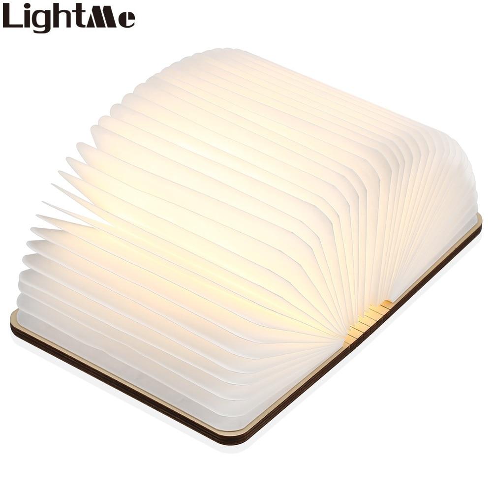 LightMe Rechargeable Book Lamp Folding Mini Table Light Warm White LED Wooden USB Desk Night Lamp Bedroom Decor Lighting