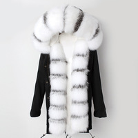 Leather fur coat real white fox jacket natural silver fox coat rex rabbit fur liner autumn and winter women's clothing FLS 65