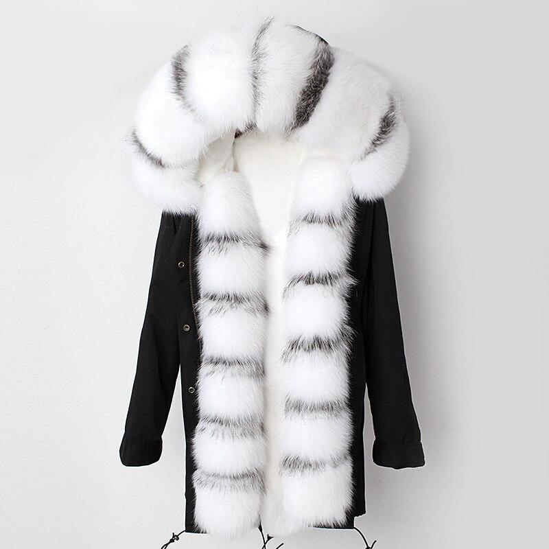 Manteau de fourrure en cuir véritable veste de renard blanc naturel argent manteau de renard rex doublure de fourrure de lapin automne et hiver vêtements pour femmes FLS-65