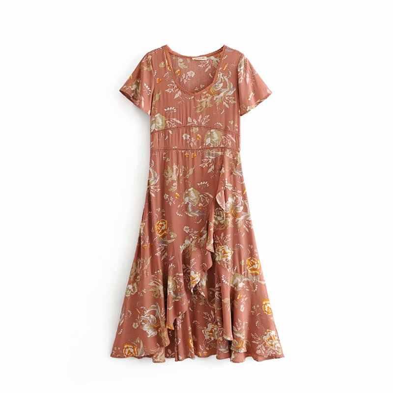 Boho шикарное летнее винтажное кружевное платье с цветочным принтом в стиле пэчворк для женщин 2019 модное Плиссированное пляжное платье с v-образным вырезом vestidos mujer