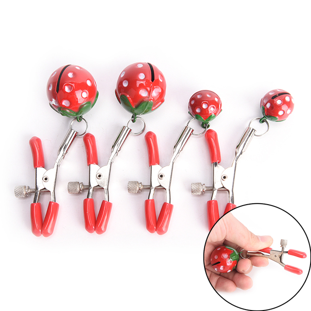 Lovely Strawberry Steel Breast Nipple Clamps Clips Party Product Flirting  Couple Toys for Women Best Valentine s Day Gift 5fc74e0eb