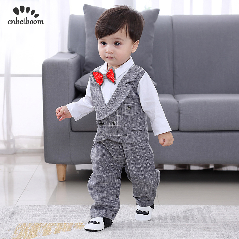 5d2bdffbdc Baby Romper 2019 New spring England Clothes 0-24 month newborn boy s  Gentleman suits 1