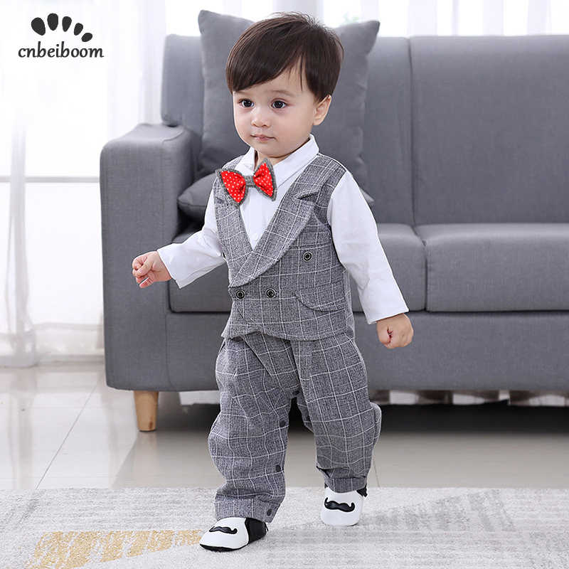 e332f712b956a Baby Romper 2019 New spring England Clothes 0-24 month newborn boy s  Gentleman suits 1