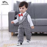 Baby Romper 2019 New spring England Clothes 0 24 month newborn boy's Gentleman suits 1 2 Year birthday Dress party costume