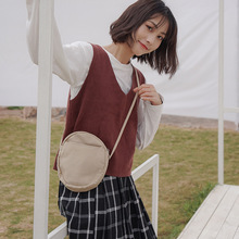 Japanese round shoulder oblique with female bag canvas small casual art fresh simple mobile phone zipper