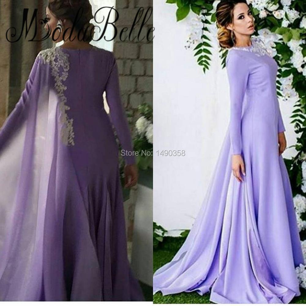 2017 Lilac Arabic Ladies Long Evening Dresses With Sleeves Elegant ...