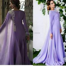 2017 lila Arabisch Damen Lange Abendkleider Mit Hülsen Elegante Dubai Formale Kleid Frauen Abendessen Kleid Robe De Soiree