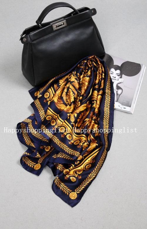 Elegante marca hecha a mano 100% crepe satén seda liso 110 cm bufanda - 6