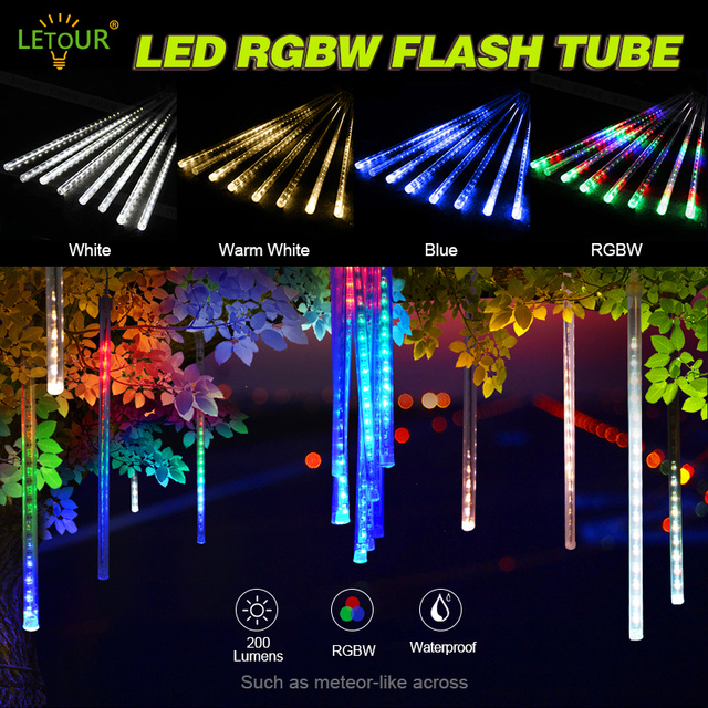 Letour icicle lights led meteor lights rgb holiday light 118 inch 8 letour icicle lights led meteor lights rgb holiday light 118 inch 8 tubes 144leds outdoor waterproof aloadofball