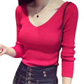 Autumn winter women solid sexy V-neck long sleeve thin sweaters casual pullovers slim stretch femininas knitted outwear coat