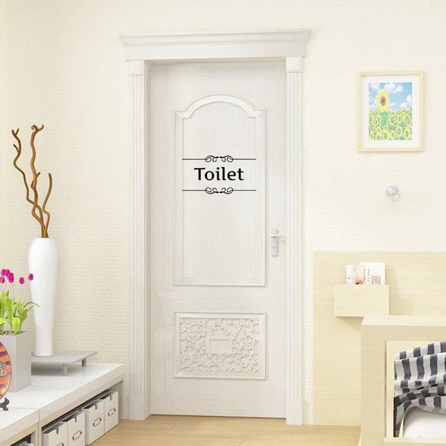 1pcs Vintage Wall Stickers Bathroom Door Decor Toilet Transfer Vinyl Home Quote