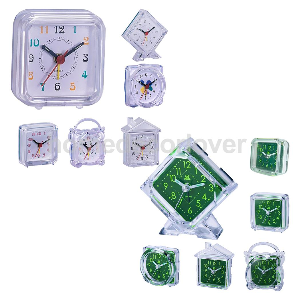 Mini Alarm Clock Quartz Travel Portable Desk Clock With Snooze & LED Light for Home Office Travelling