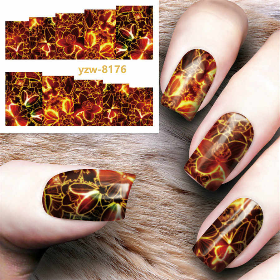 1pcs HOT Nail Stickers Magic Flower Water Transfer Water Decals Nail Art Decorations Wraps Sliders Manicure Tools Christmas YZ76