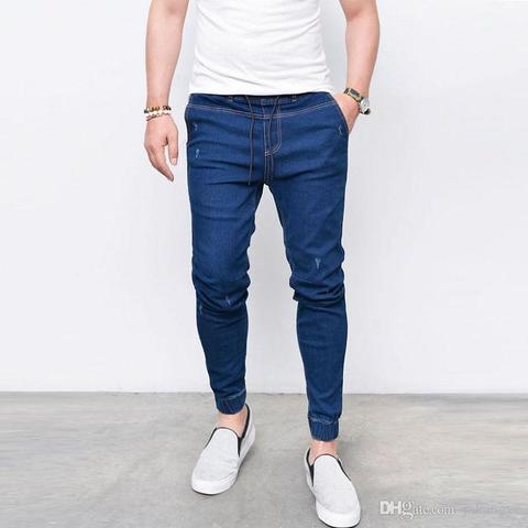 E-BAIHUI New Harem Jeans Men Casual Washed Shinny Denim Jeans Male Fashion Ripped Hip Hop Sportswear Pencil Pants Plus Size 5XL Lahore