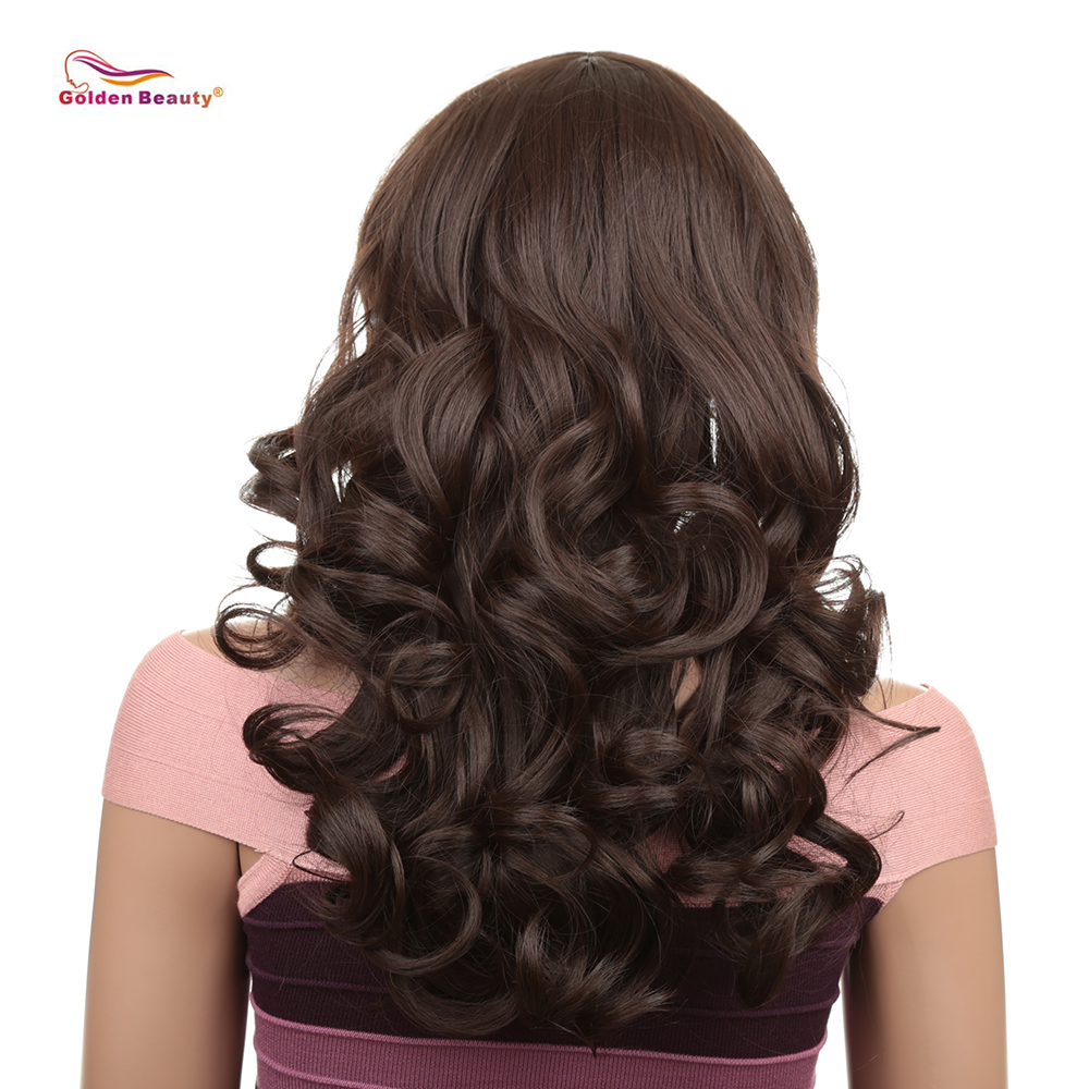 Women Long Wavy Hair Wig With Bangs Natural Cosplay Party Dress Heat Resistant Synthetic Dark Brown Full Wig Golden Beauty