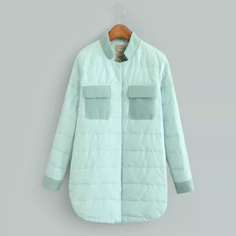 2016 Winter Jackets And Coats Simple Thin Spring Winter Coat Women Pink Blue Stitching Cotton Long Sleeve Womens S M L
