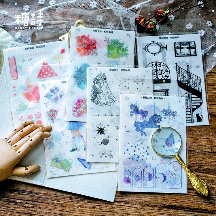 3P/set Cute Irregular Shape Paper Sticker Decoration Diary Scrapbooking Label Sticker Kawaii Stationaries