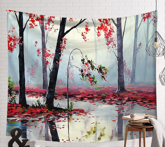 Image 2 - CAMMITEVER Scene Tapestry Printed Fabric Tapestry Easy To Clean Wall Blanket Home Decor Fog Woods Lake-in Tapestry from Home & Garden
