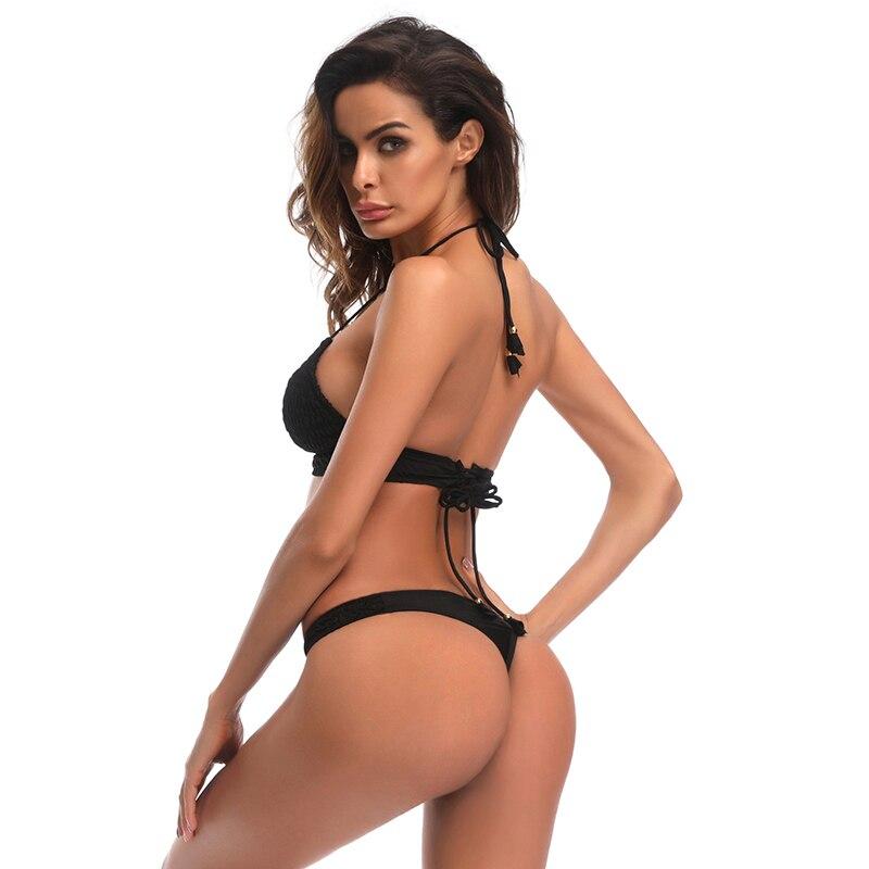 Swimwear 2018 Style String Back Swimsuit Women Push Up Bathing Suit Beachwear Brazilian Thong Bikini Set High Neck Top Biquini