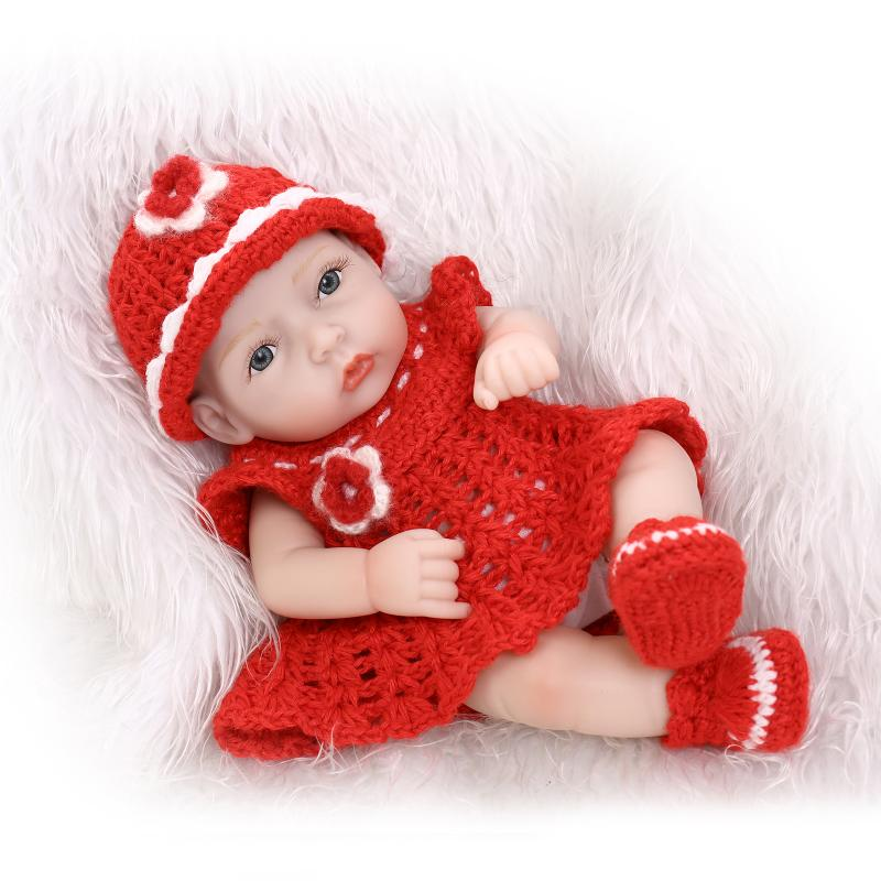 25cm Full Silicone Reborn Babies Doll For Kid Brinquedos Mini Girls Bebe Doll Reborn Birthday Gift Bathe Early Education Toy