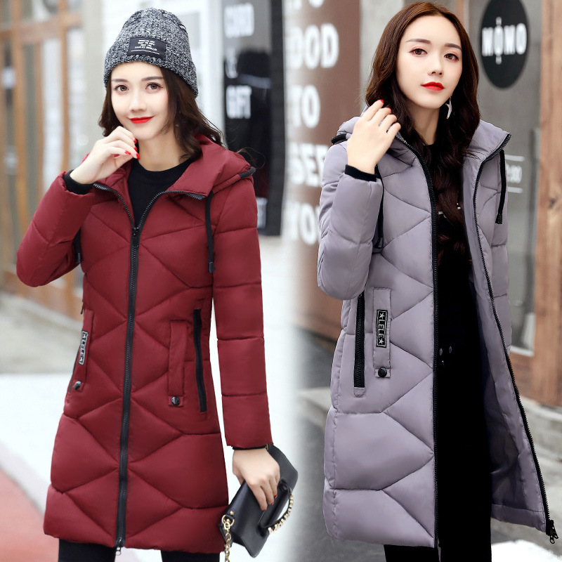 2017 Winter New Hot Fashion Female Zipper Hooded Long Cotton-padded Jackets Parkas Women Casual Thick Warm Long Sleeve Coats 2017 winter women parkas slim feathers collar female cotton padded coats jackets long thick warm hooded new hot la1013b 16608