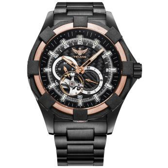 где купить YELANG V1008 self luminous mens steel strap sapphire mirror waterproof 100m sport automatic mechanical watch military wristwatch по лучшей цене