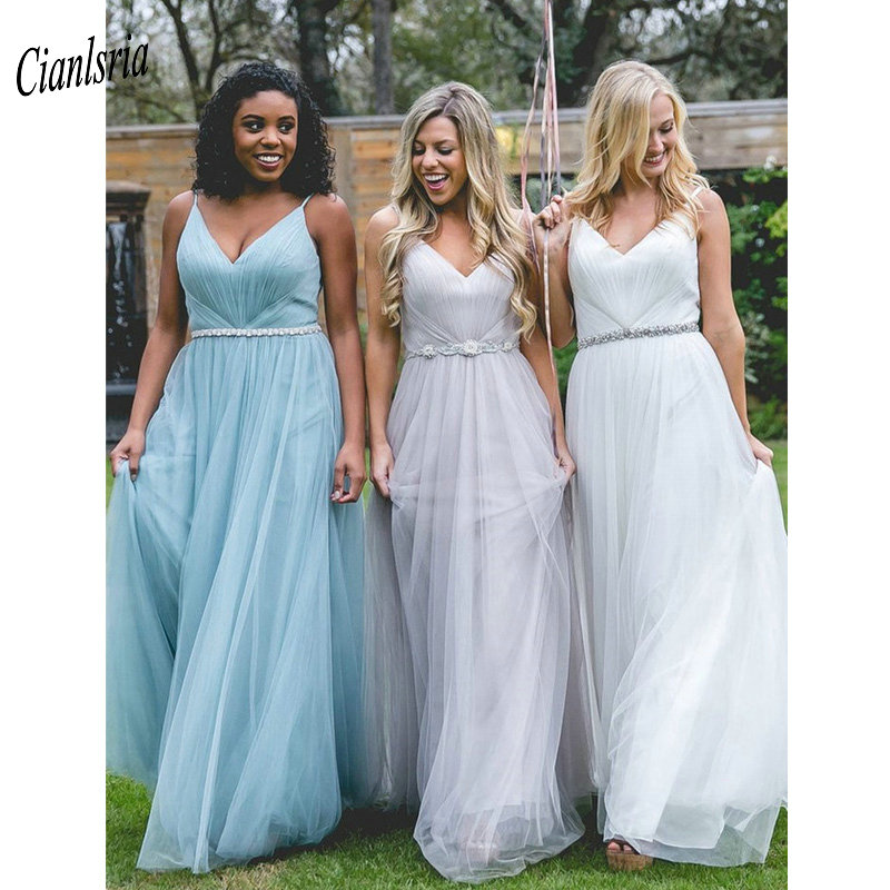 Spaghetti Straps V-Neck   Bridesmaid     Dresses   With Crystal Sashes Pleats Wedding Guest   Dress   For Wedding Party vestido madrinha