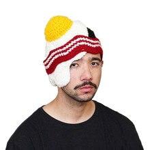 Funny Egg Beanie Caps for Men Women Handmade Crochet Winter Hats Gorro Rasta Halloween Party Costumes