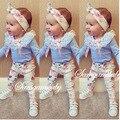 Ins 2016 froral девушка Весенняя одежда футболка + Брюки + головные уборы 3 шт. шаблон комплект одежды новорожденного детские костюм детская одежда набор