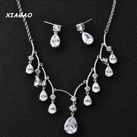 XIAGAO Super Luxury Silver Plated Dropping Flower Cubic Zirconia Diamond Crystal Bridal Wedding Costume Jewelry Sets