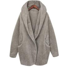 2016 Hot Fashion Casual Autumn Winter Women Lamb Wool Coat Solid Color Long Sleeve Loose Hooded Overcoat Women Outwear Size S